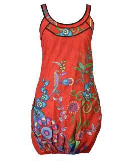 """Červené balonové šaty bez rukávu """"Flower design"""", kapsy"""