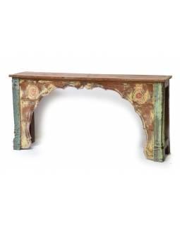 Konzolový stolek, ruční řezba, antik teak, 202x42x87cm