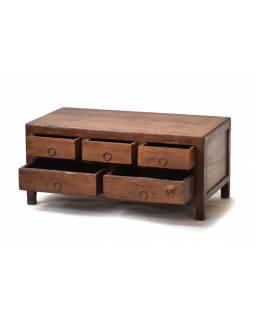 Stolek z antik teakového dřeva s 5 šuplíky, 73x38x33cm