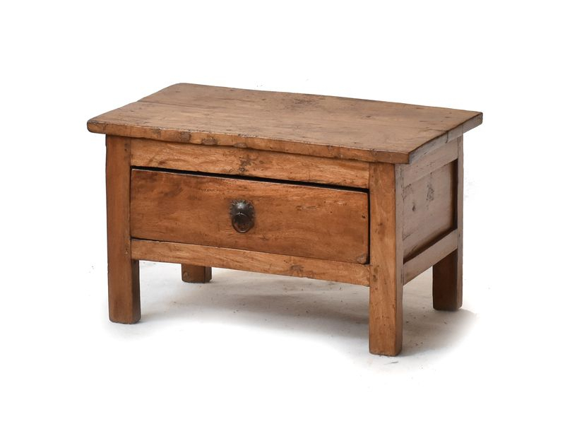 Stolek z antik teakového dřeva s šuplíkem, 53x33x33cm