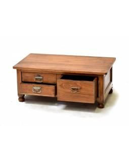 Stolek z antik teakového dřeva s 3 šuplíky, 77x46x30cm