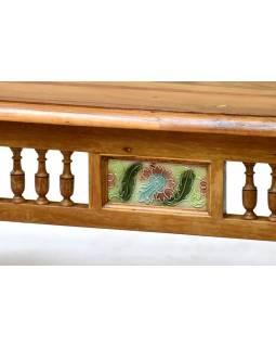 Konferenční stolek z teakového dřeva zdobený dlaždicemi, 91x61x46cm