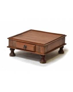 Stolek z antik teakového dřeva s šuplíkem, 47x45x20cm