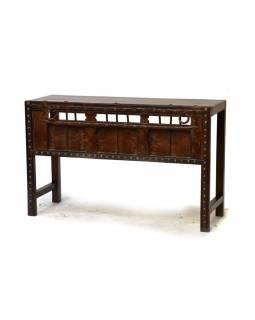 Odkládací stolek z antik teakového dřeva, železné kování, 123x44x78cm