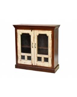 Prosklená skříňka z mangového dřeva, 100x44x102cm
