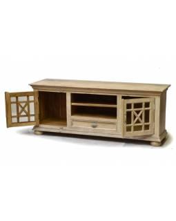 Komoda pod TV z mangového dřeva, prosklená dvířka, bílá patina, 162x43x65cm