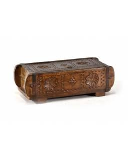 Antik dřevěná truhlička, ruční řezby, mango, 32x15x11cm