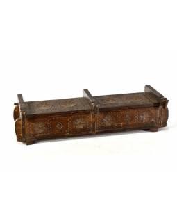 Antik dřevěná truhlička, ruční řezby, mango, 58x21x15cm