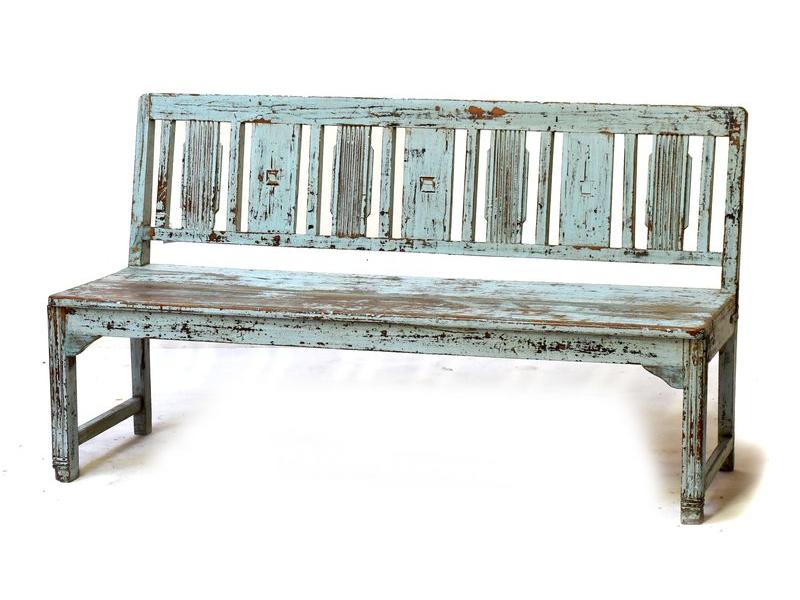 Stará lavička z teakového dřeva, tyrkysová patina, 164x56x90cm