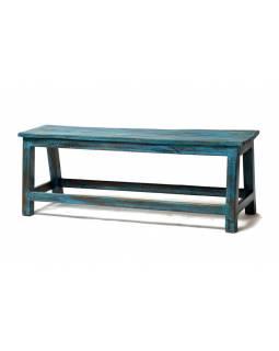Stará lavička z teakového dřeva, tyrkysová patina, 116x30x42cm