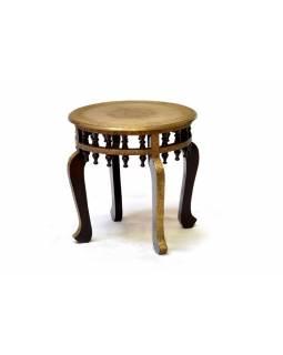 Stolička z palisandrového dřeva zdobená mosazným kováním, 45x45x45cm