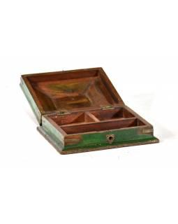 Stará dřevěná truhlička z teakového dřeva, 21x18x10cm