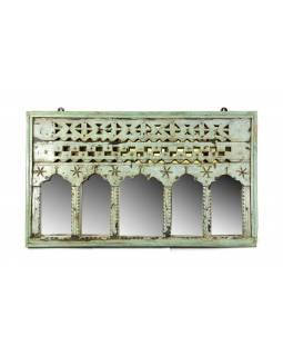 Portál se zrcadlem z teakového dřeva, antik, 89x5x52cm