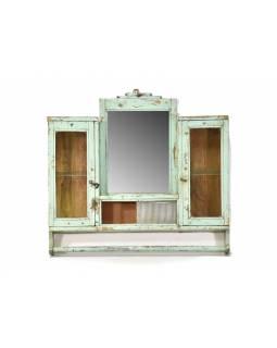Stará koupelnová skříňka se zrcadlem, tyrkysová, 60x9x56cm