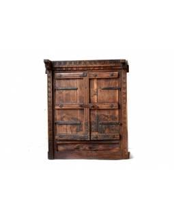Okno se zrcadlem z teakového dřeva s okenicí, antik, 58x68x20cm