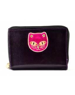 """Peněženka design """"Cat's head"""", ručně malovaná kůže, tmavě fialová, 15x10cm"""