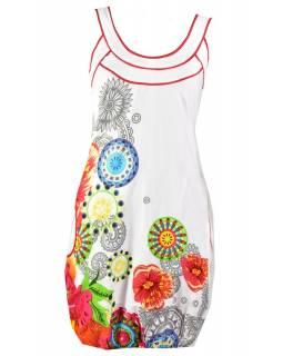 """Bílé šaty bez rukávu """"Savanna"""" s barevnými květinami, kapsy"""