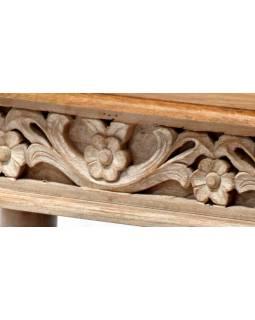 Konferenční stolek z mangového dřeva, ruční řezby, šedá patina, 91x61x47cm