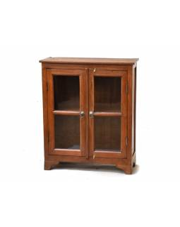Prosklená skříňka z antik teakového dřeva, 71x30x85cm