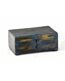 Stará dřevěná truhlička z teakového dřeva, 22x14x10cm