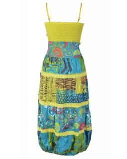 """Dlouhé balonové šaty na ramínka ,,Karina"""", zelené, kombinace barevných tisků"""