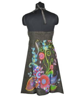 """Šedé šaty bez rukávu """"Elisa"""" s barevnými květinami, vázání za krk"""