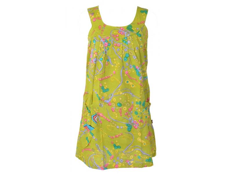 """Krátké zelené šaty """"Space design"""" bez rukávu + bandana"""