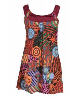 """Šaty, krátké, ,,Indian design"""", červené, elastická ramínka a výstřih"""