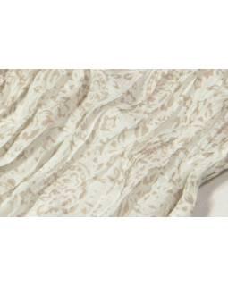 Bílý šátek s květinovým potiskem, mačkaná úprava, béžový potisk, 110x170cm