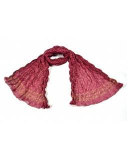 Šátek, vínový, mačkaná úprava, zlatý tisk, 110x170cm