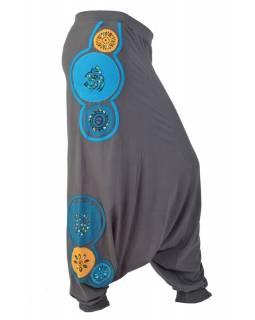 """Šedo meruňkové turecké kalhoty """"Mandala design"""", aplikace a tisk"""