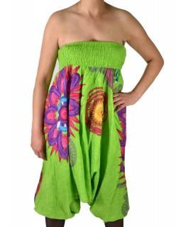 """Limetkově zelené turecké kalhoty-overal-halena 3v1 """"Flower Mandala"""", žabičkování"""
