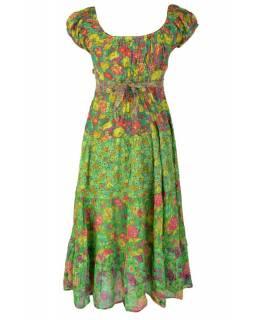 Dlouhé zelené šaty s balonovým rukávkem a mašlí, květinový potisk