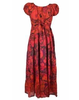 Dlouhé červené šaty s balonovým rukávkem a mašlí, květinový potisk