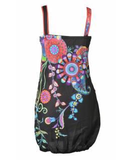 """Černé balonové šaty bez rukávu """"Flower design"""", kapsy"""