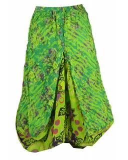 Dlouhá zelená balonová sukně s kapsami, kombinace tisků, zip