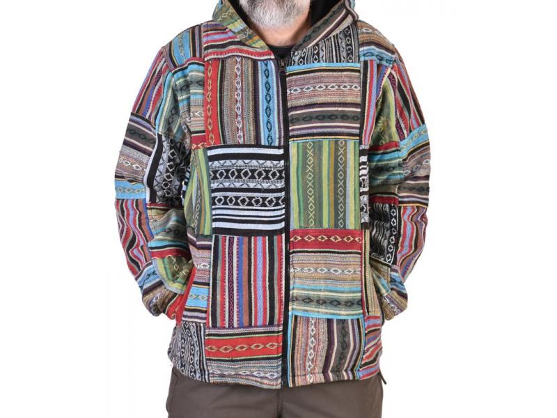 Unisex tibetská patchworková bunda s kapucí, zapínání na zip, kapsy, modro-zelen