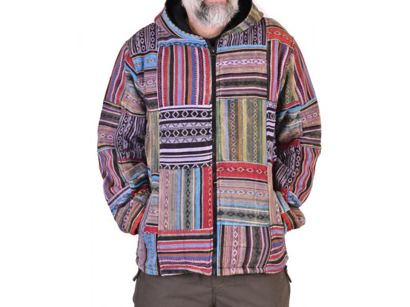 Unisex tibetská patchworková bunda s kapucí, zapínání na zip, kapsy, fialová