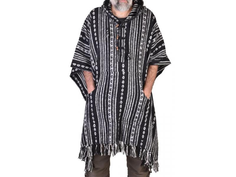 Tibetské pončo z česané bavlny, kapsy, kapuca, černá-bílá