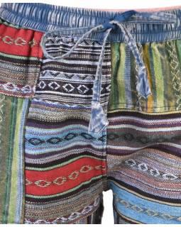 Unisex tibetské patchworkové kalhoty, modro-zelené