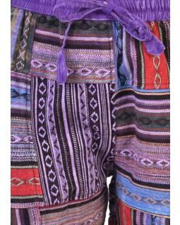 Unisex tibetské patchworkové kalhoty, fialové