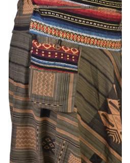 Khaki zelené thajské turecké kalhoty se vzorem, kapsa, bambulky