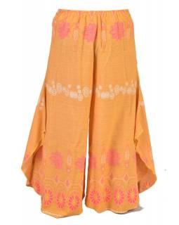 Žluté thajské zvonové kalhoty, ornamentální potisk, kapsa, bambulky