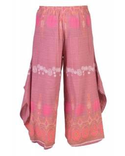 Růžové thajské zvonové kalhoty, ornamentální potisk, kapsa, bambulky