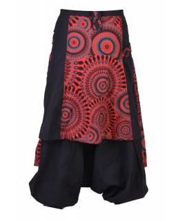 Černo červené turecké kalhoty se sukní, Mandala tisk, zip