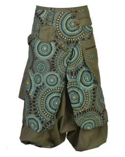 Khaki  turecké kalhoty se sukní, Mandala tisk, zip