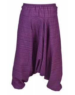 Fialové thajské turecké kalhoty s potiskem, kapsa, bambulky