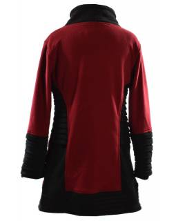 Červeno černý kabátek s ozdobnými sklady, stojací límec, zip a kapsy