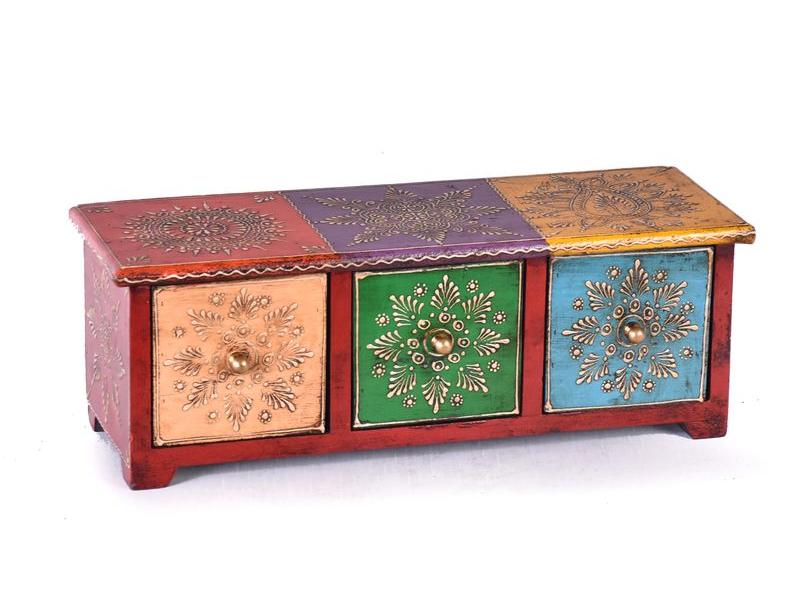Dřevěná skříňka s 3 šuplíky, ručně malovaná, červená, 35x12x12cm