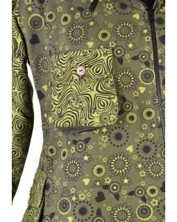 Khaki kabátek s kapucí a asymetrickými zipy, potisk, kapsy